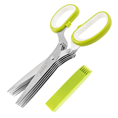 Jenaluca Herb Scissors - Heavy Duty 5 Blade Kitchen Shears with Safety Cover