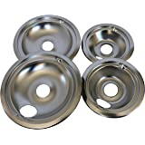 KITCHEN BASICS 101 WB31T10010 and WB31T10011 Replacement Chrome Drip Pans for GE/Hotpoint Electric Range with Locking Slot -