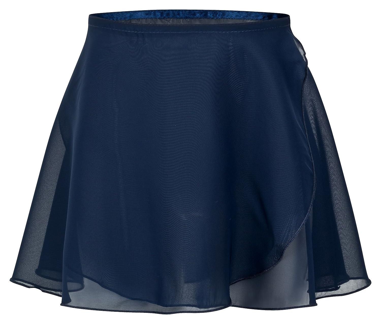 tanzmuster girls´ ballet wrap-around chiffon skirt 'Emma' with satinband - in pink, light blue, white, black, purple, hot pink, lavender, navy and burgundy