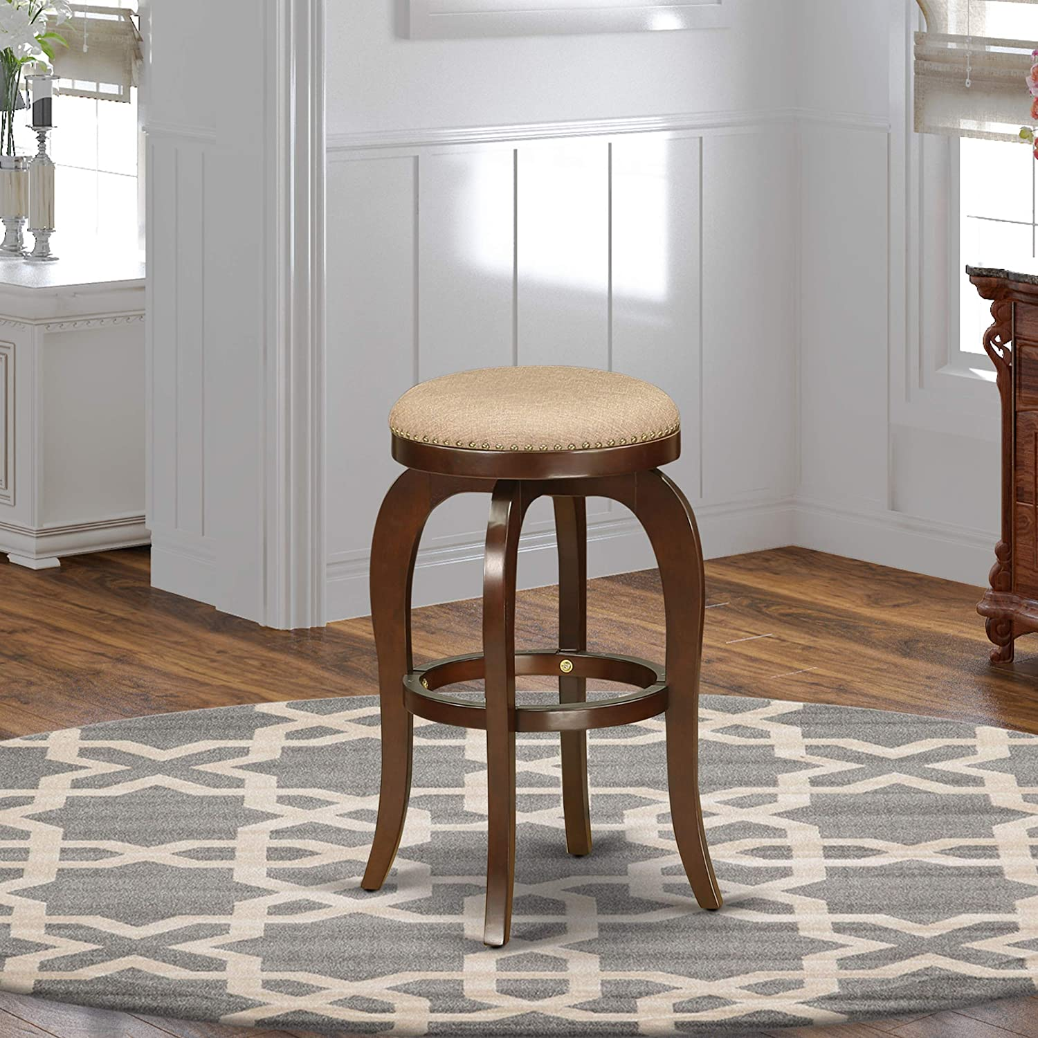 East West Furniture Bedford Swivel Backless Barstool 30'' Seat Height With Mahogany Leg And Pu Leather Mocha