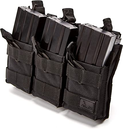 WOLF TACTICAL Triple Rifle Mag Pouch – Open Top MOLLE Mag Carrier for Rifle Magazines – Attaches to Combat Vests, Rifle Cases, Backpacks
