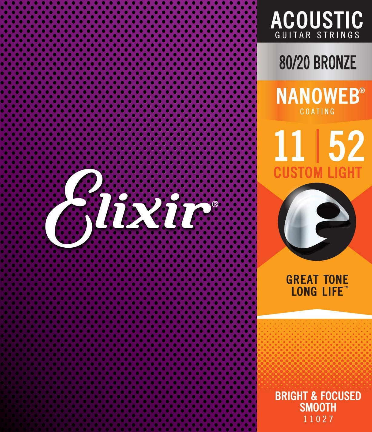 Elixir Strings 80/20 Bronze Acoustic Guitar Strings w NANOWEB Coating, Custom Light (.011-.052)