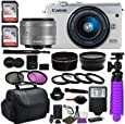 Canon EOS M100 Mirrorless Digital Camera (White) Premium Accessory Bundle with Canon EF-M 15-45mm is STM Lens (Silver) + CC2 Case + 64GB Memory + HD Filters + Auxiliary Lenses