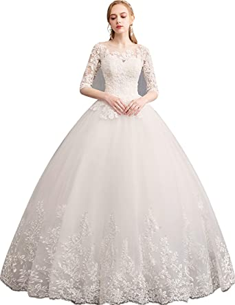 dc2c82d89adb Clover Bridal 2019 Elegant Jewel Lace 3/4 Sleeves Bridal Gown Ivory at Amazon  Women's Clothing store: