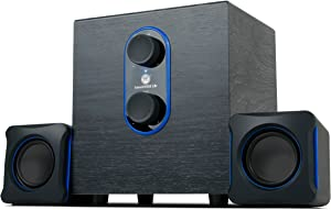GOgroove SonaVERSE LBr 2.1 Computer Speakers with Subwoofer - USB Powered PC Speaker System with 3.5mm AUX Audio Input, Bass/Volume Control Knobs, 11W RMS - Compact Size Ideal for Laptop, Small Desk