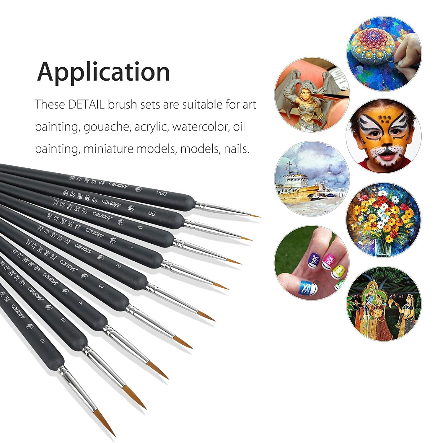 Amazon com: EEEKit 9pcs/Set Paint Brushes Artist Weasel Hair