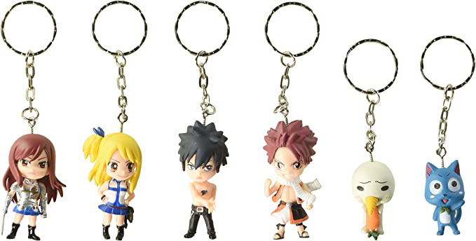 OliaDesign Fairy Tail 6 Piece Figure Set Featuring Natsu Dragneel, Happy, Ezra Scarlet, Gray Fullbuster, Lucy Heartfilia Keychains Set: Amazon.es: Oficina y papelería