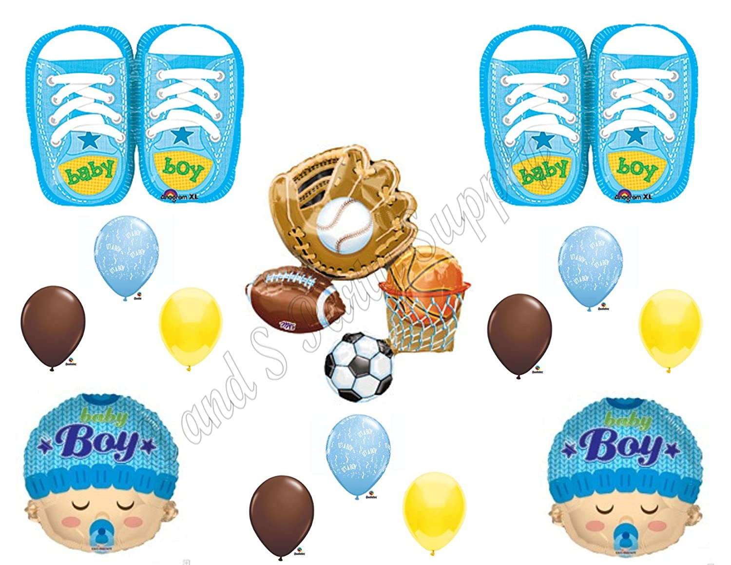 Amazon.com: ITu0027S A BOY SPORTS Theme Baby Shower Balloons Decoration  Supplies Shoes Football: Toys U0026 Games