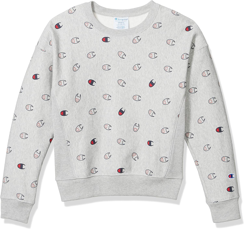 Champion Damen Reverse Weave Crew-Tossed C Logos Sweatshirt Tossed C Logo Oxford Grey