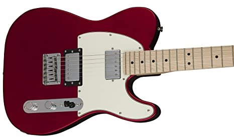 Amazon.com: Squier by Fender Contemporary Telecaster Electric Guitar - HH - Maple Fingerboard - Dark Metallic Red: Musical Instruments