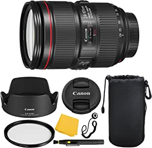 Canon EF 24–105mm f/4L is II USM Lens + UV Filter + Lens Cleaning Pen + Lens Cap Keeper + Cleaning Cloth - 24-105mm II is: International Version (No Warranty)