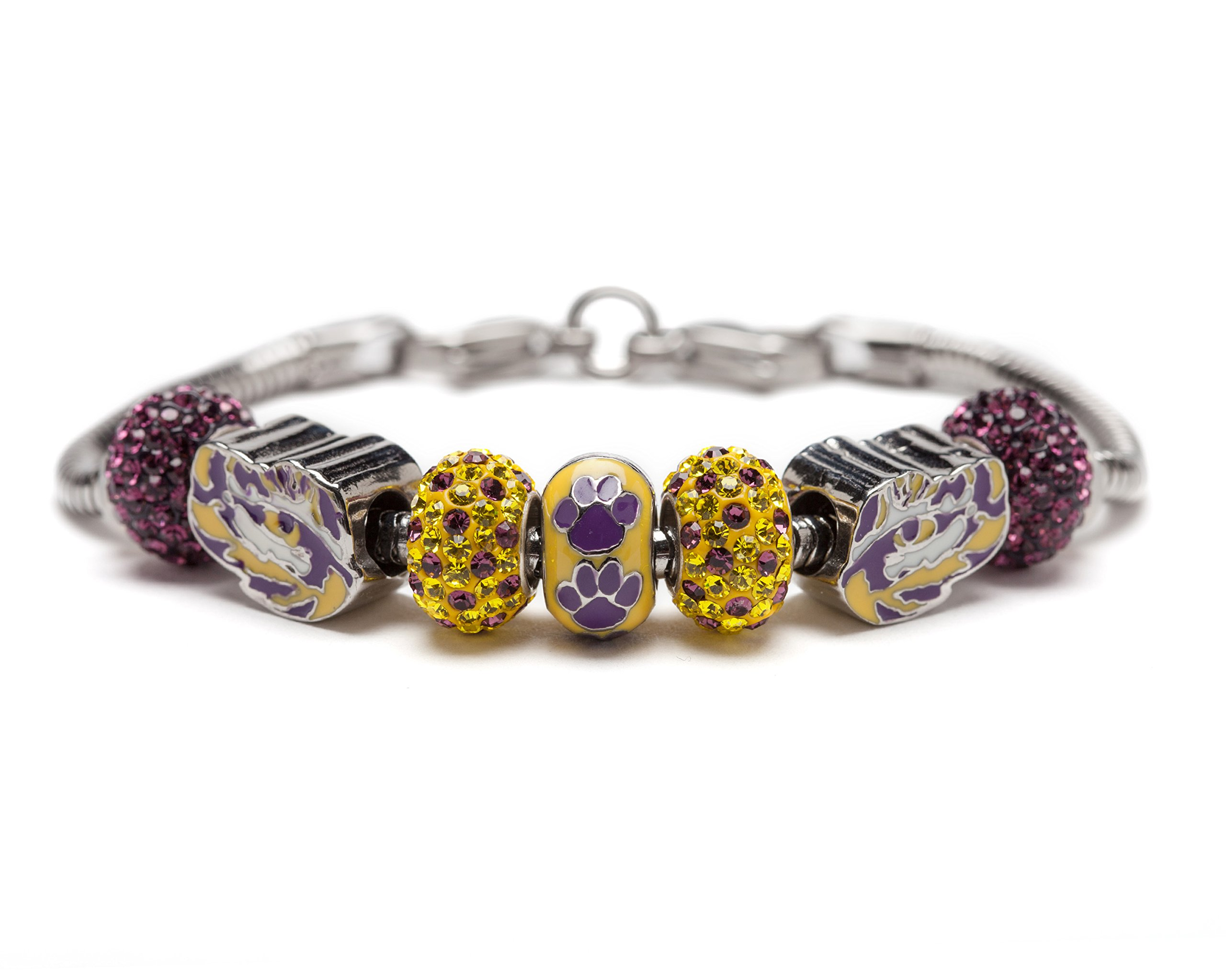 Louisiana State University Charm   LSU Tigers - Bracelet with 3 Tigers Beads and 4 Crystal Charms   Officially Licensed Louisiana State University Jewelry   LSU Charms   Stainless Steel