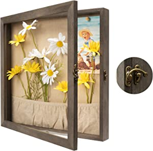 Emfogo 13x13 Shadow Box Picture Frame with Linen Back Front Glass Door and Pocket, Rustic Wood Shadow Display Case of Keepsakes, Baby, Wedding, Memory Box for Wall and Tabletop (Weathered Gray)