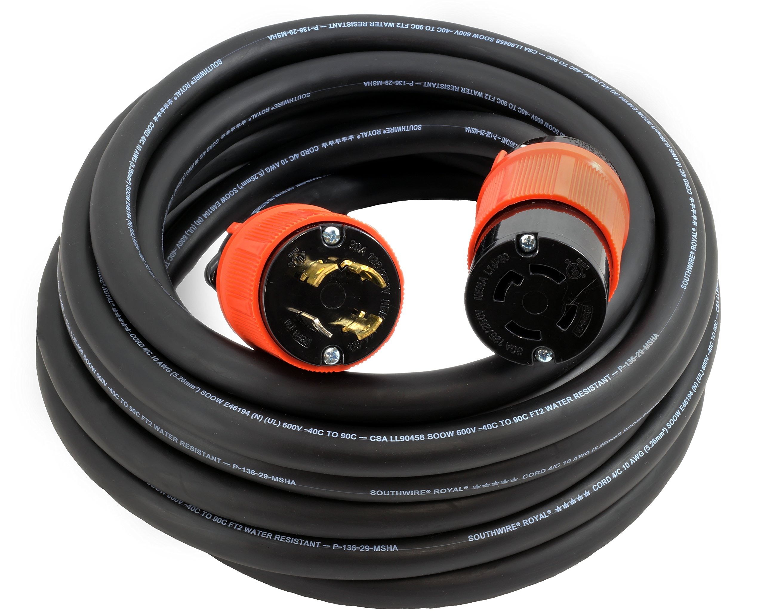 AC WORKS [L1430PR-050] 50FT 10/4 NEMA L14-30 30Amp 125/250Volt Generator Rubber Extension Cord