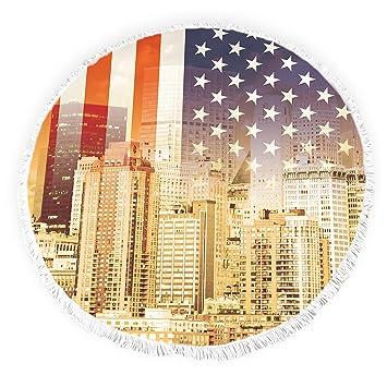 Toallas de playa redondas con borlas de la bandera estadounidense de Estados Unidos estrellas y rayas Cityscape flecos círculo grueso gitano alfombra de ...