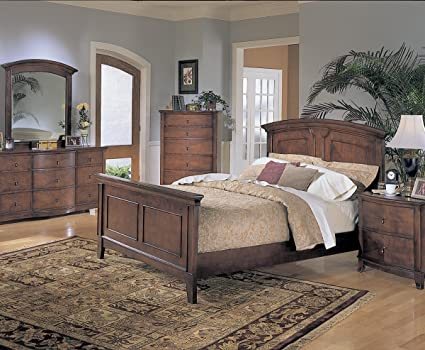 Homelegance Avalon 6 Piece Panel Bedroom Set In Cherry