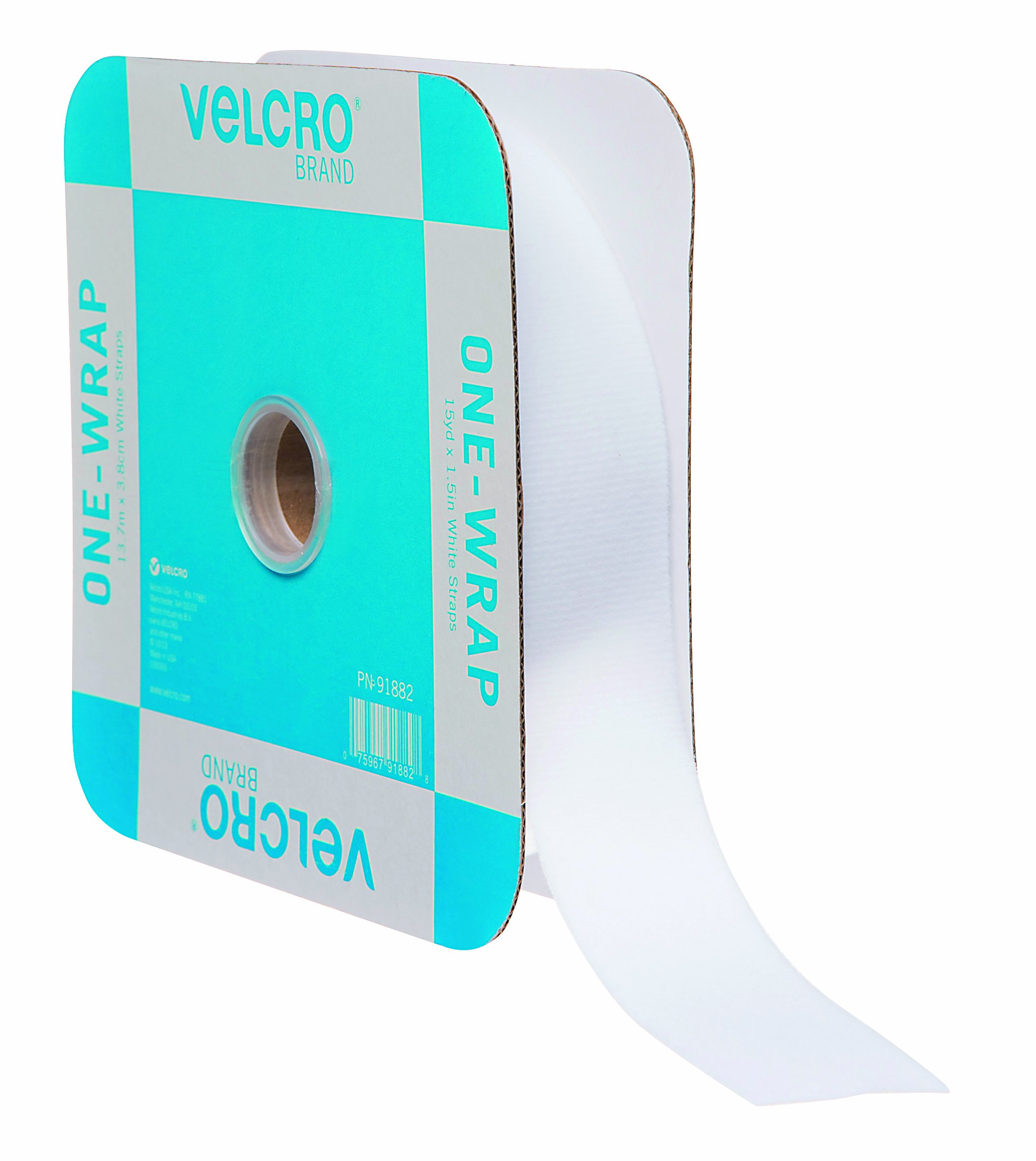 VELCRO Brand - ONE-WRAP Roll, Double-Sided, Self Gripping Multi-Purpose Hook and Loop Tape, Reusable, 45' x 1 1/2'' Roll - White
