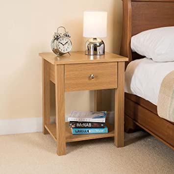 CHRISTOW Bedside Table Light Oak With Drawer & Shelf, Small Contemporary  Nightstand, Wooden Storage Unit, H50cm