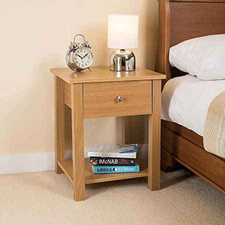 Christow Wooden 1 Drawer Bedside Table Bedroom Cabinet Nightstand White Oak