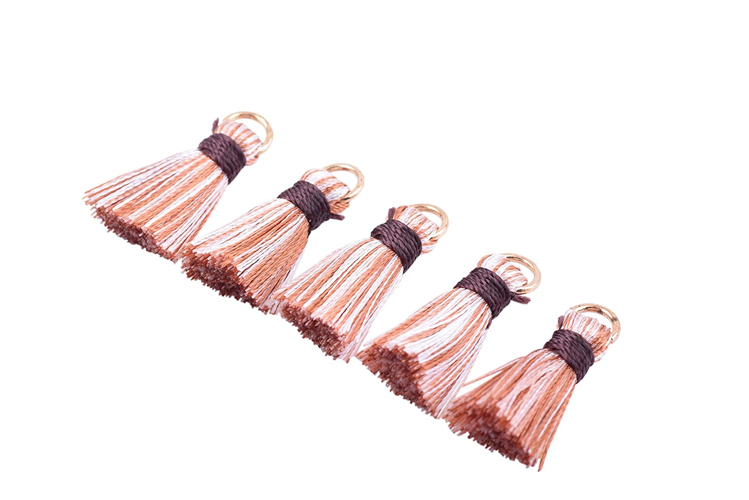 KONMAY 20pcs 0.8 Small Tiny Exquisite Silky Craft Tassels with Golden Jump Ring for DIY Projects Beige 2.0cm