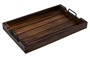 Wooden Serving Tray 20 Inch with Strong Black Metal Handles - Decorative and Antique Large Wood Serving Trays for Breakfast/Coffee/Dinner/Table - Food/Tea Serving Tray