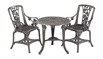 Gablemere 2 Seater Plastic Rose Design Patio Set With Round Bistro Table In  Gun Metal Grey