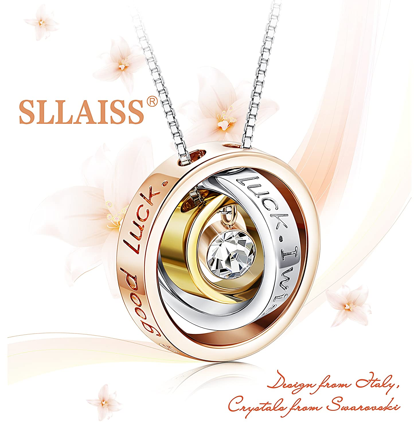 f01264542 Sllaiss Ring Necklace Made with Swarovski Crystals,Engraved I wish you ll  have a good luck Rose Gold Plated Alloy Pendant Necklaces Jewelry Gift  [GIFT ...