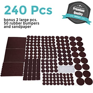 PREMIUM Furniture Pads Set 240 Pcs Large Pack Brown   Heavy Duty Adhesive Felt  Pads For