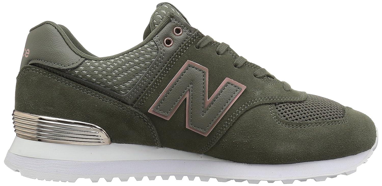 New Balance Women's 574v2 Sneaker B0751SDLLB 10.5 D US|Military Foliage Green/Rose Gold/Metallic
