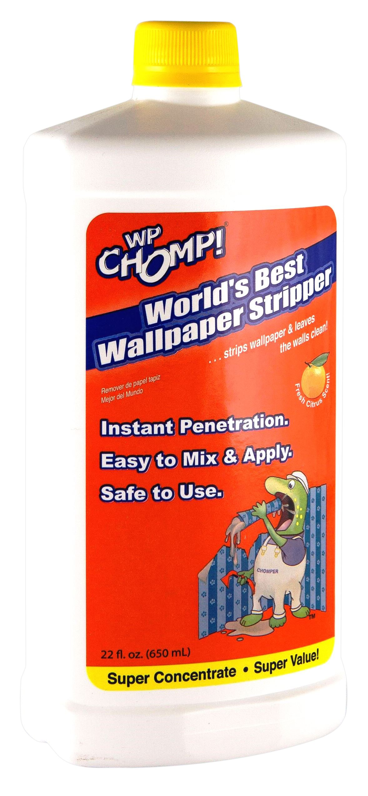 WP Chomp Worlds Best Wallpaper Stripper and Sticky Paste Remover, Citrus Scent 22oz Super Concentrate