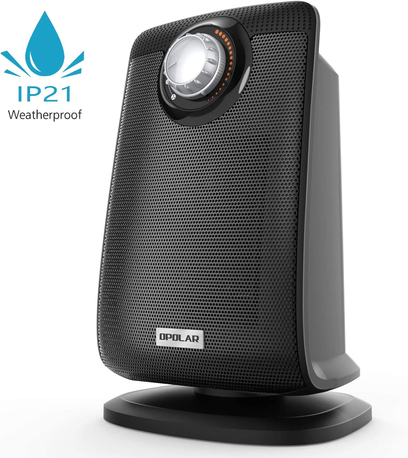 Oscillating Bathroom Space Heater with IP21 Waterproof, 1500W Portable Ceramic Safe Heater with Adjustable Thermostat, Fast Heating, Ideal for Living Room Bedroom Office Washroom Use