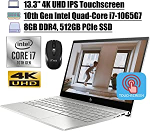 "2020 Latest HP Envy 13 Premium Laptop Computer 13.3"" 4K UHD IPS Touchscreen 10th Gen Intel Quad-Core i7-1065G7 8GB DDR4 512GB PCIe SSD Backlit KB WiFi Webcam USB-C Win 10 + iCarp Wireless Mouse"