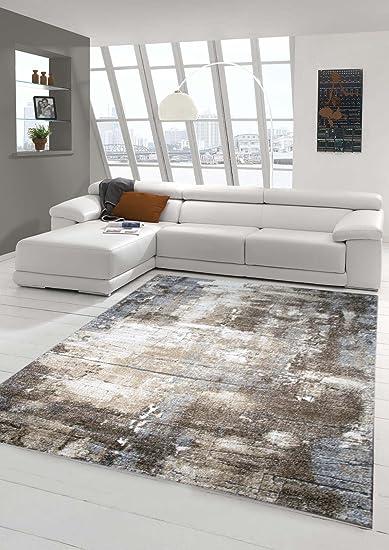 Designer Teppich Moderner Teppich Wohnzimmer Teppich Barock Design  Steinmauer Optik in Braun Beige Grau Creme Meliert Größe 9 x 9 cm