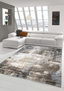 Designer Teppich Moderner Wohnzimmer Barock Design Steinmauer Optik In Braun Beige Grau Creme Meliert