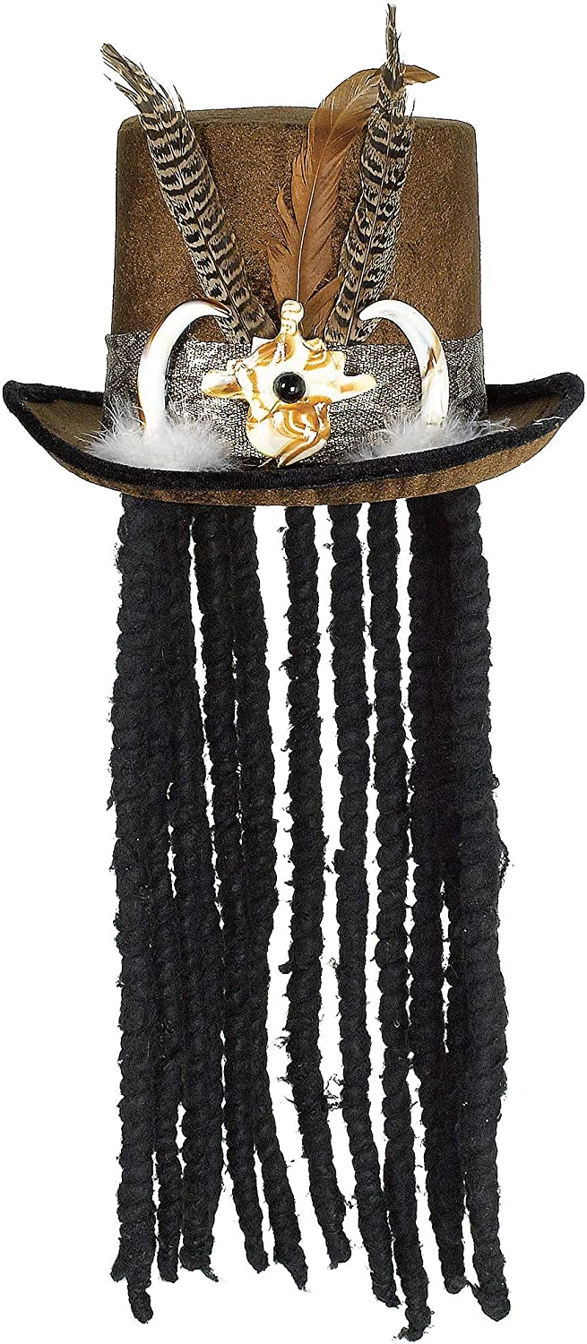 AMSCAN Witch Doctor Top Hat with Dreads Halloween Costume Accessories One Size