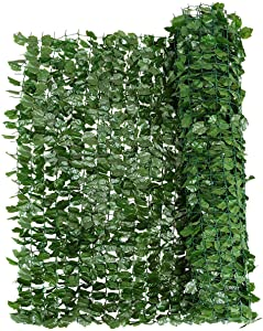"""Giantex Artificial Hedges Faux Ivy Leaves Fence, Artificial Ivy Privacy Fence Screen, Mesh Backing, Decorative Trellis for Outdoor Garden Porch Patio (40""""x95"""")"""