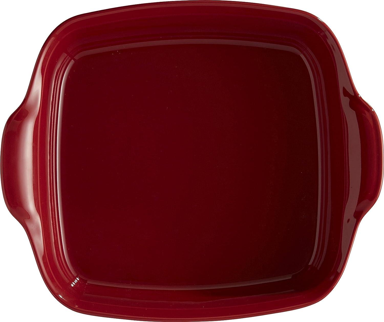 Emile Henry Eh349550 Plat /à Four Carr/é C/éramique Rouge Grand Cru 28 X 23 X 7,5 cm