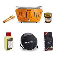 Lotusgrill Lotusgrill orange kleiner Edelstahl Stahl Kunststoff BBQ-Lotus Balkon Camping Picknick ✔ rund ✔ tragbar rauchfrei ✔ Grillen mit Holzkohle ✔ für den Tisch