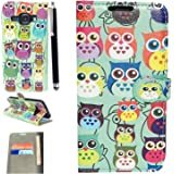 Samsung Galaxy J3 (2016) Premium PU Leather Flip Wallet Case Cover Pouch + Free Touch Screen Stylus pen (OWL BOOK)