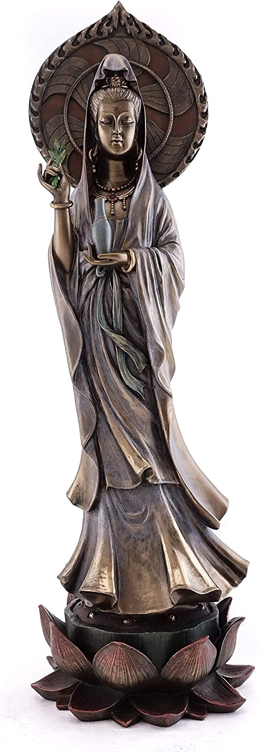 Top Collection Guan Yin Statue Standing on Lotus Pedestal- Quan Yin East Asian Goddess of Compassion and Mercy Sculpture in Premium Cold Cast Bronze - 16.75-Inch Collectible Meditating Buddha Figurine