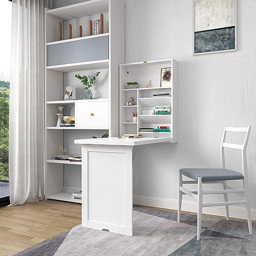 BWM.Co Modern Wood Wall Mounted Folding Desk Cabinet Convertible Folding Writing Desk