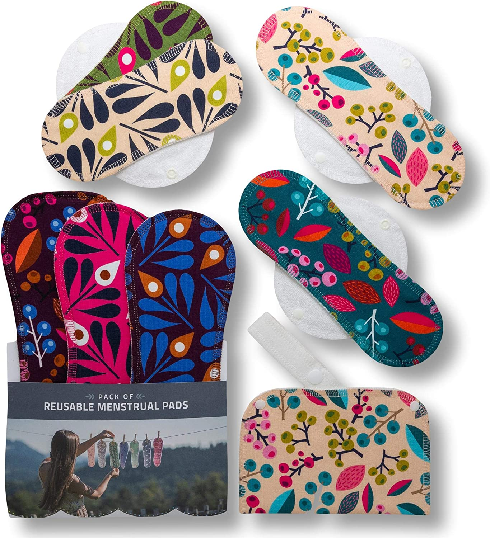 Compresas de tela reutilizables, pack de 7 compresas ecologicas de algodón orgánico con alas; HECHAS EN LA UE, para menstruación, postparto, ...