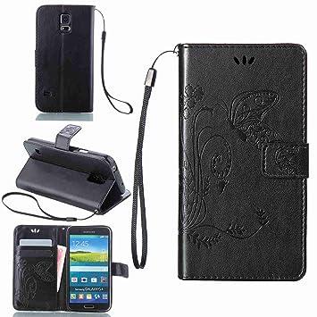 pinlu Funda para Samsung Galaxy S5 Mini Función de Plegado Flip Wallet Case Cover Carcasa Piel PU Billetera Soporte con Mariposa Grass Negro