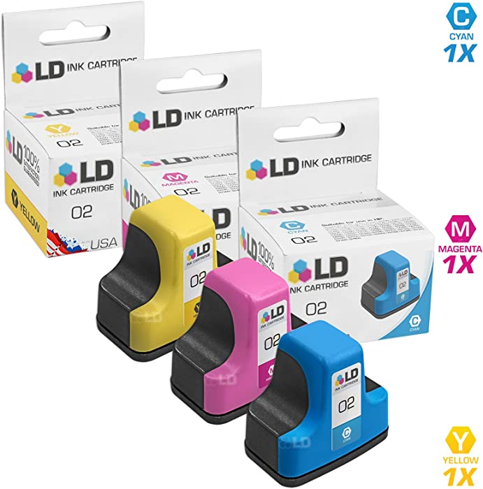 LD Remanufactured Ink Cartridge Replacement for HP 02 (Cyan, Magenta, Yellow, 3-Pack)