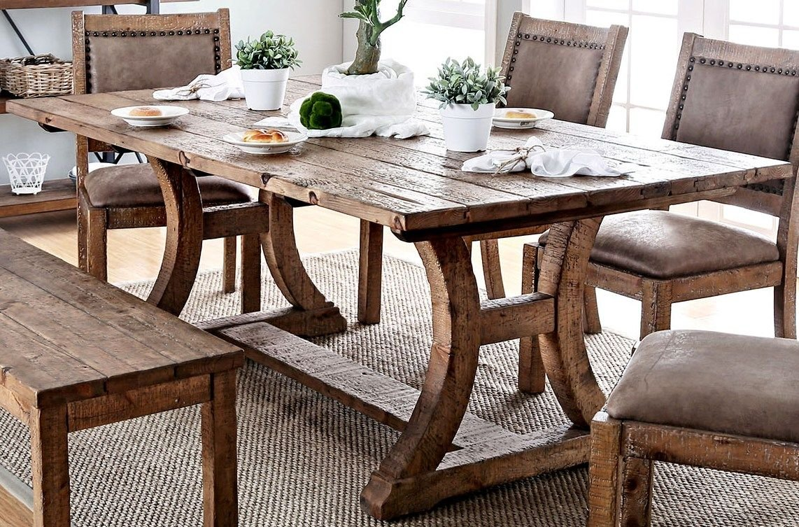 Amazon com furniture of america gianna rustic pine 77 rectangular dining table tables