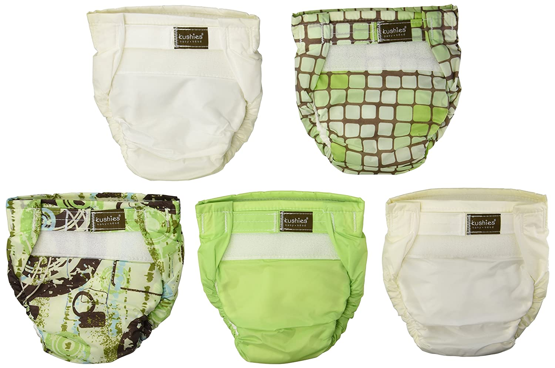Kushies UL2005N 5 Pack Washable Ultra-Lite Diaper For Infant, Neutral Print ksh-900-0005