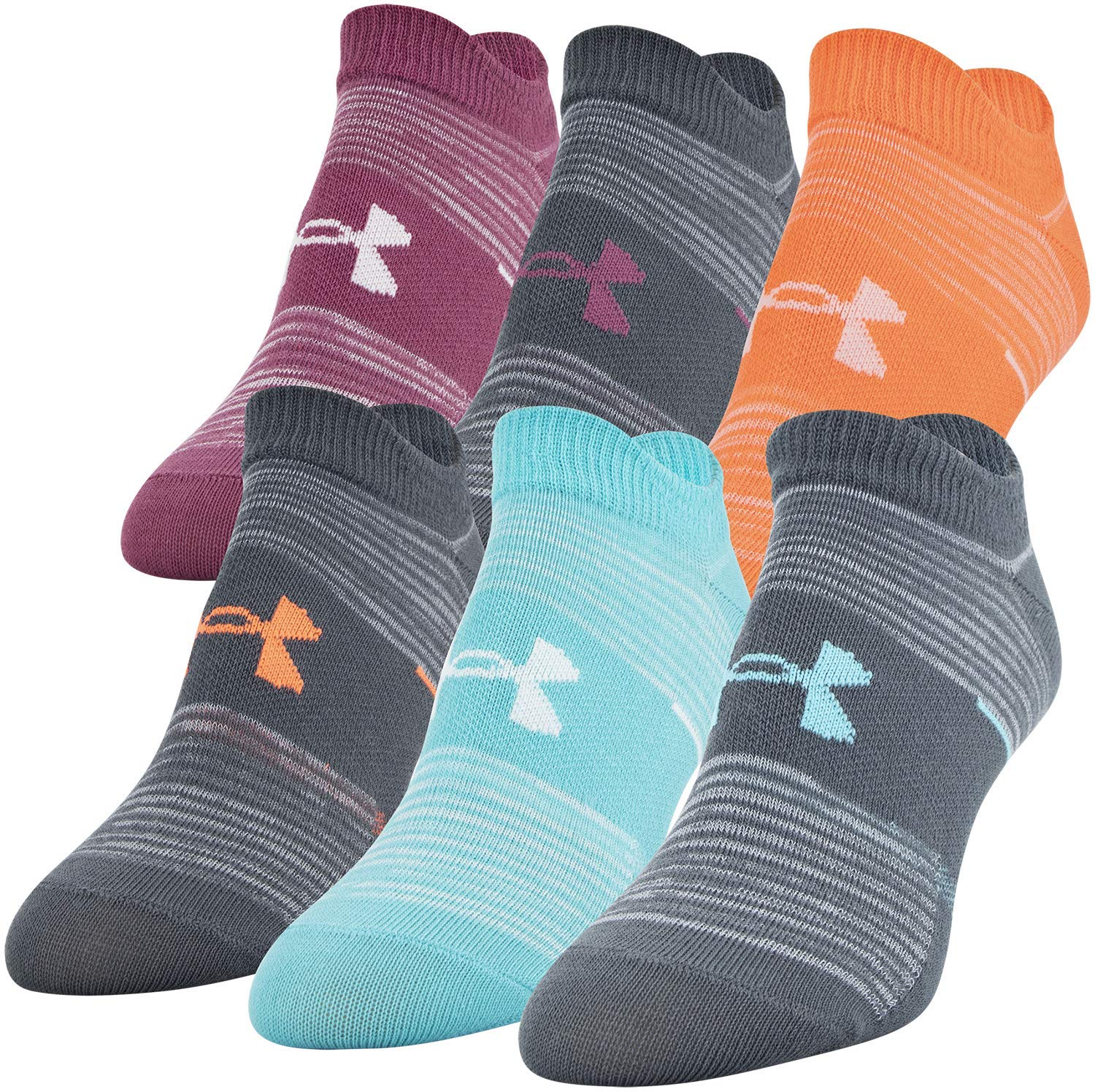 Under Armour Essential No Show Socks, 6-Pair, Pitch Gray Stripe, Shoe Size: Womens 6-9 by Under Armour