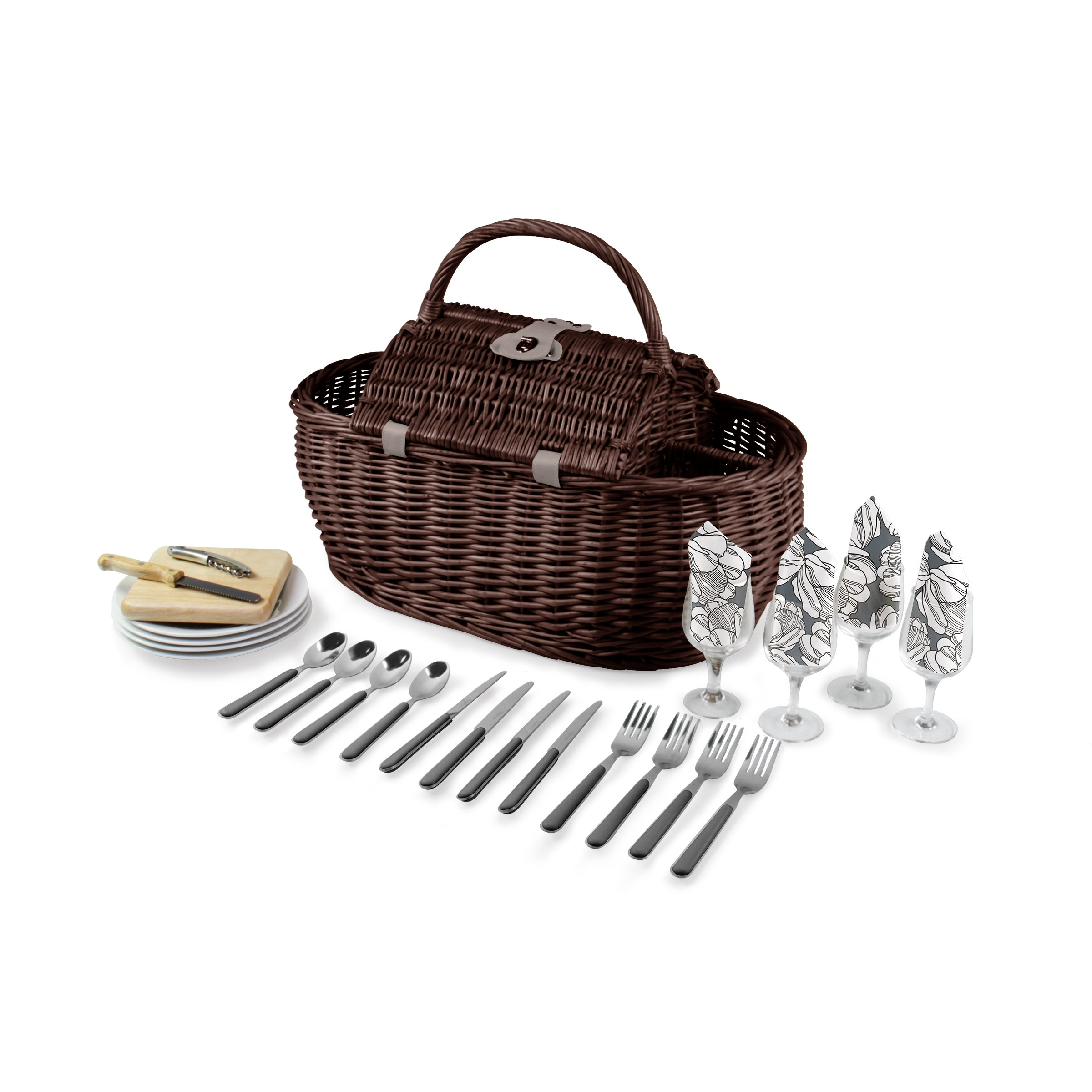 Picnic Time Gondola Picnic Basket with Service for Four, Harmony Collection