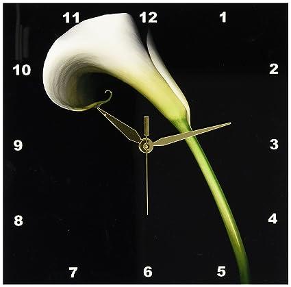 3dRose blanco Calla Lily reloj de pared, 10 por 25,4 cm
