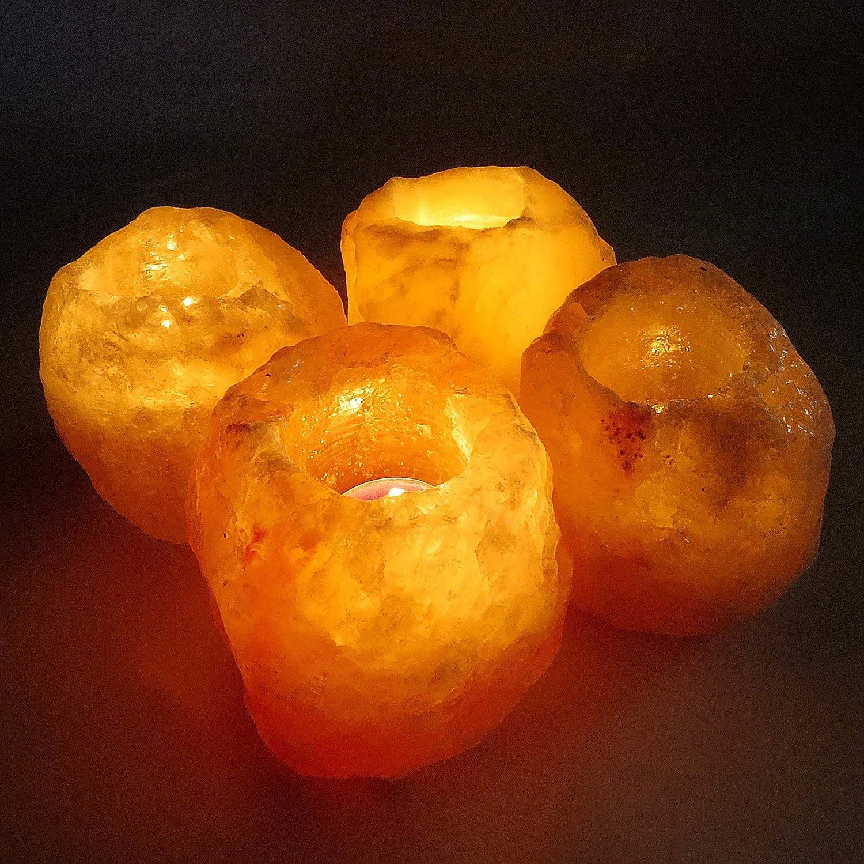4 Salt Candle Tea Light Holders | Set of 1, 2 or 4 | 100% Genuine Salt | Imported From Pakistan (Only 1) Klass Home